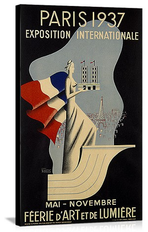 Paris International Exposition 1937 Vintage Printed On Canvas