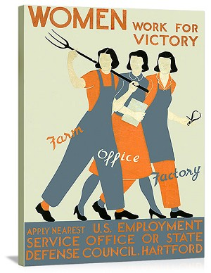 Women Work for Victory Vintage Printed On Canvas
