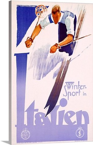Winter Sport in Italien Vintage Printed On Canvas