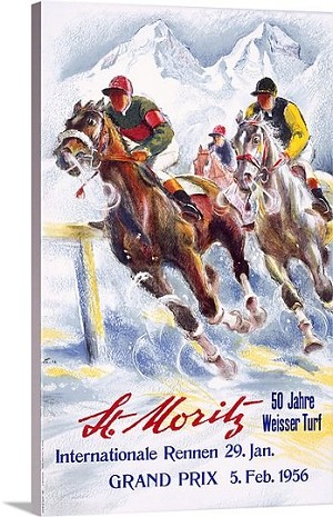 Horse Race St. Moritz Vintage Printed On Canvas