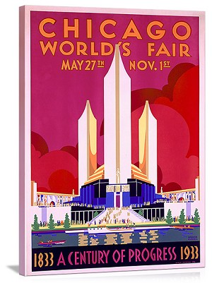 Worlds Fair Chicago 1933 Vintage Printed On Canvas