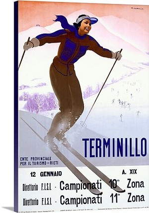 Terminillo Woman Skiing Vintage Printed On Canvas