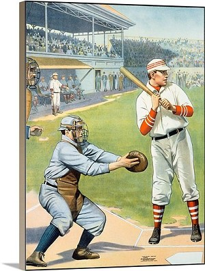 US Baseball at the Plate Vintage Printed On Canvas