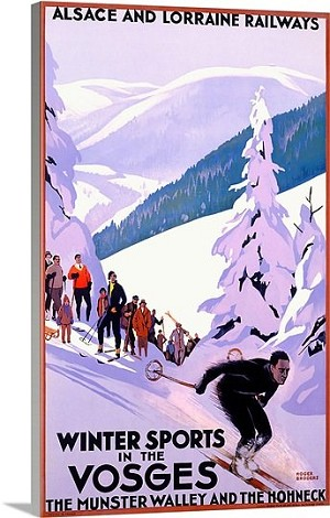 Winter Sports in the Vosges Alsace Vintage Printed On Canvas