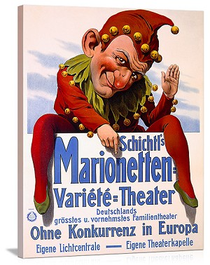 Marrionette Puppet Theater Vintage Printed On Canvas
