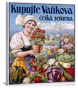 Kupujte Vankova Woman with Flowers Vintage Printed On Canvas