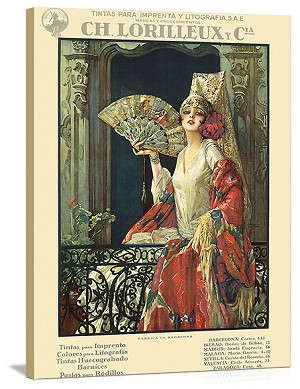 Woman with fan CH. Lorilleaux y Cia Vintage Printed On Canvas