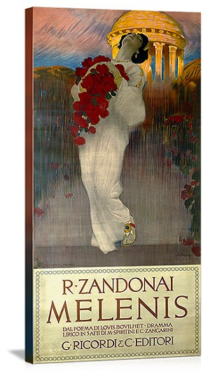 Melenis R. Zandonai Woman with Roses Vintage Printed On Canvas