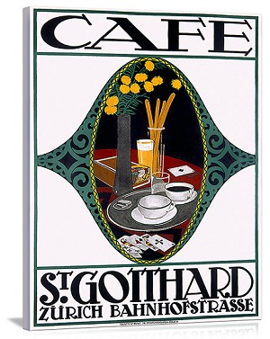 Cafe St. Gotthard Vintage Printed On Canvas
