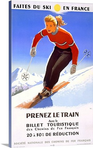 Prenez Le Train Downhill Snow Ski Vintage Printed On Canvas