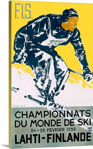 Champions Du Monde de Ski Vintage Printed On Canvas