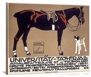 Horse and Fox Terrier Universitats Tattersall Vintage Printed On Canvas