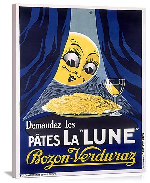 Les Pates la Lune Pasta and Moon Vintage Printed On Canvas