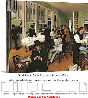 "Classic Artwork by Edgar Degas The Cotton Exchange Canvas Wrap 24"" x 19"""