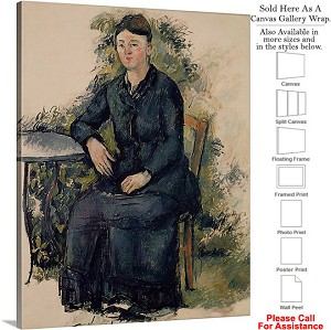 "Classic Art by Paul Cezanne Madame in the Garden Canvas Wrap 19"" x 24"""