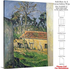 "Classic Artwork by Paul Cezanne of Farm at Auvers Canvas Wrap 19"" x 24"""