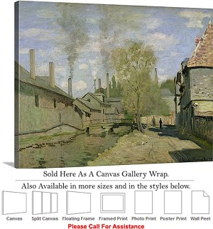 "Classic Art by Claude Monet of The Stream of Robec Canvas Wrap 24"" x 19"""
