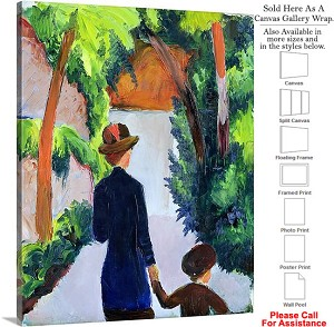 "Classic Art by August Macke Mother Child in Park Canvas Wrap 19"" x 24"""