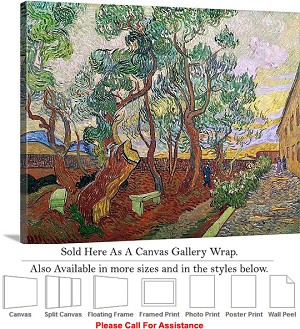 "Classic Artwork by Vincent Van Gogh of The Garden Canvas Wrap 24"" x 19"""