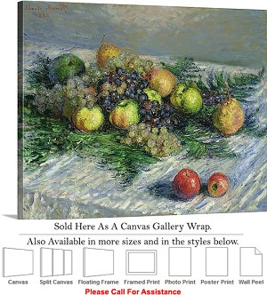 "Classic Artwork by Claude Monet Still Life Fruits Canvas Wrap 24"" x 19"""