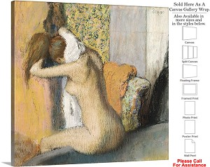 "Classic Artwork by Edgar Degas of After the Bath Canvas Wrap 20"" x 20"""
