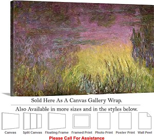 "Classic Art by Claude Monet Waterlilies at Sunset Canvas Wrap 30"" x 18"""