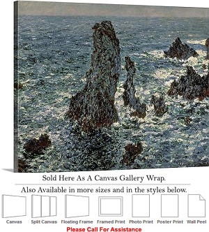 "Classic Art by Claude Monet The Rocks at Belle Ile Canvas Wrap 24"" x 19"""
