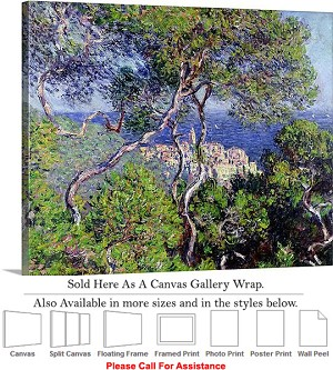 "Classic Artwork by Claude Monet of Bordighera Canvas Wrap 24"" x 19"""