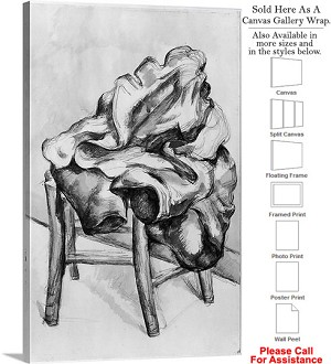 "Classic Artwork by Paul Cezanne Drapery on a Chair Canvas Wrap 20"" x 30"""