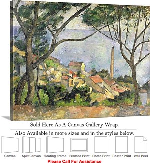 "Classic Artwork by Paul Cezanne of Sea at lEstaque Canvas Wrap 24"" x 19"""