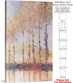 "Classic Artwork by Claude Monet Banks of the Epte Canvas Wrap 18"" x 30"""