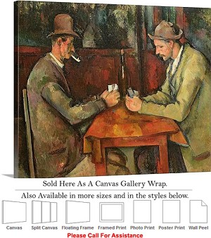 "Classic Artwork Piece by Paul Cezanne Card Players Canvas Wrap 24"" x 19"""