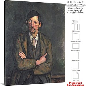 "Classic Art by Paul Cezanne Man with Crossed Arms Canvas Wrap 19"" x 24"""