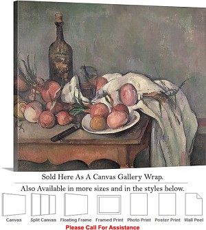 "Classic Art by Paul Cezanne Still Life with Onions Canvas Wrap 24"" x 19"""