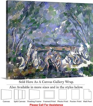 "Classic Artwork by Paul Cezanne of The Bathers-2 Canvas Wrap 24"" x 19"""