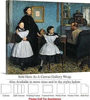 "Classic Artwork by Edgar Degas The Bellelli Family Canvas Wrap 24"" x 19"""