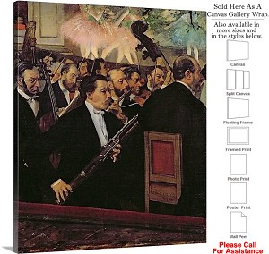 "Classic Artwork by Edgar Degas The Opera Orchestra Canvas Wrap 19"" x 24"""