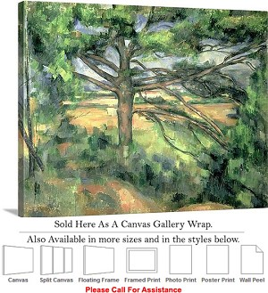 "Classic Artwork by Paul Cezanne of The Large Pine Canvas Wrap 24"" x 19"""