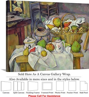 "Classic Art by Paul Cezanne Still Life with Basket Canvas Wrap 24"" x 19"""