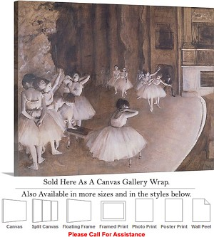 "Classic Art by Edgar Degas Ballet Rehearsal Stage Canvas Wrap 24"" x 19"""