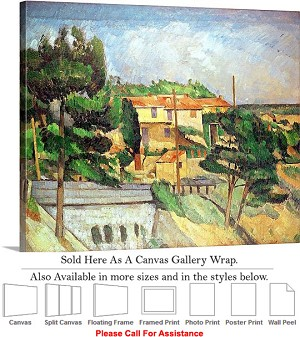 "Classic Artwork by Paul Cezanne Viaduct at Estaque Canvas Wrap 24"" x 19"""