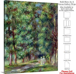 "Classic Art by Pierre Auguste Renoir Path in Wood Canvas Wrap 19"" x 24"""