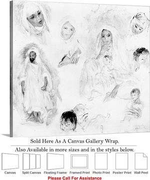 "Classic Artwork by Pierre Auguste Renoir of Arabs Canvas Wrap 20"" x 18"""