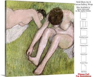 "Classic Art by Edgar Degas of Two Bathers on Grass Canvas Wrap 20"" x 20"""