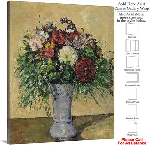 "Classic Artwork by Paul Cezanne Bouquet of Flowers Canvas Wrap 19"" x 24"""