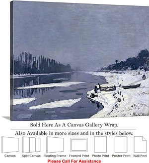 "Classic Artwork by Claude Monet Seine at Bougival Canvas Wrap 24"" x 19"""