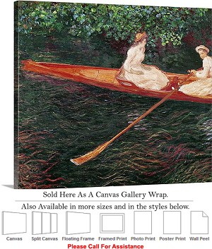 "Classic Art by Claude Monet Boating on the River Canvas Wrap 20"" x 18"""