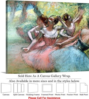 "Classic Art by Edgar Degas Four Ballerinas Stage Canvas Wrap 24"" x 19"""