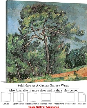 "Classic Artwork by Paul Cezanne The Large Pine-2 Canvas Wrap 20"" x 18"""