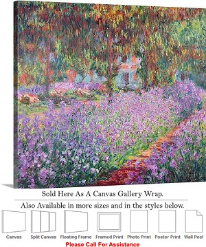 "Classic Art by Claude Monet Giverny Artists Garden Canvas Wrap 20"" x 18"""